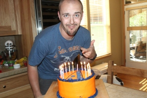 Ryan's birthday and we got him a Boise State cake even though he is a die hard Oregon State fan.