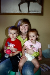 My Nephew's son Peyton, my oldest daughter Megan who is at Boise State and my youngest Mady