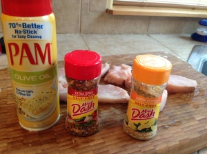 Mrs. Dash spicy pepper and Lemon pepper and olive oil spray