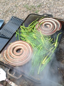 It was also time for the sausage to be thrown on the grill, along with the Aspargus with garlic truffle oil.