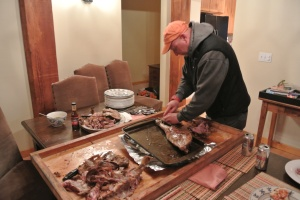 Trevor and I finish cutting the lamb up.
