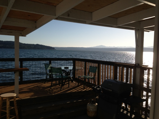 3 bedroom, with a living room and a deck with a million dollar view.
