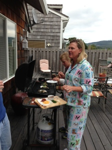 Pajama lady is ready to assemble her oyster at the bbq.