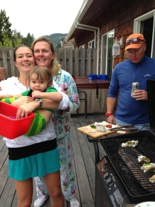 "Take this photo for example.  Look at Trevor ""Sharking"" the oysters.  Circling the bbq....you could hear the jaws music in the back ground."