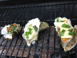 The oysters are loaded, you can see mine to the right, with the cheese not melting.