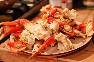 Cooked crab individual legs.