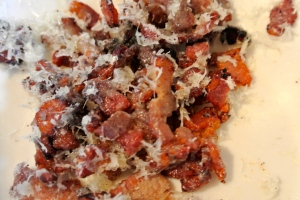 Mix thick cut bacon with manchego cheese