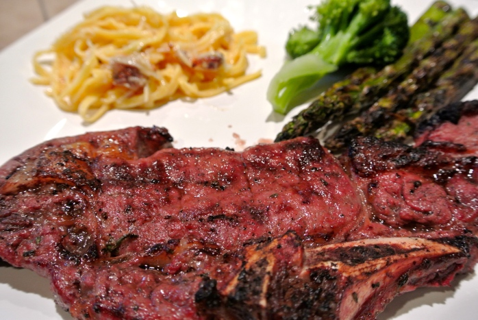 Bison ribeye with Guinness Beer and Dijon Marinade and fresh pasta ...