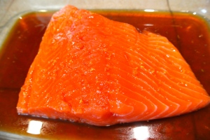 Salmon in the marinade, back to the fridge it goes.