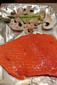 Brush the salmon with the marinade sauce.
