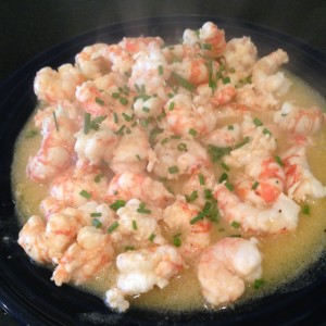 Then we needed a little shrimp scampi appetizer from the days catch.